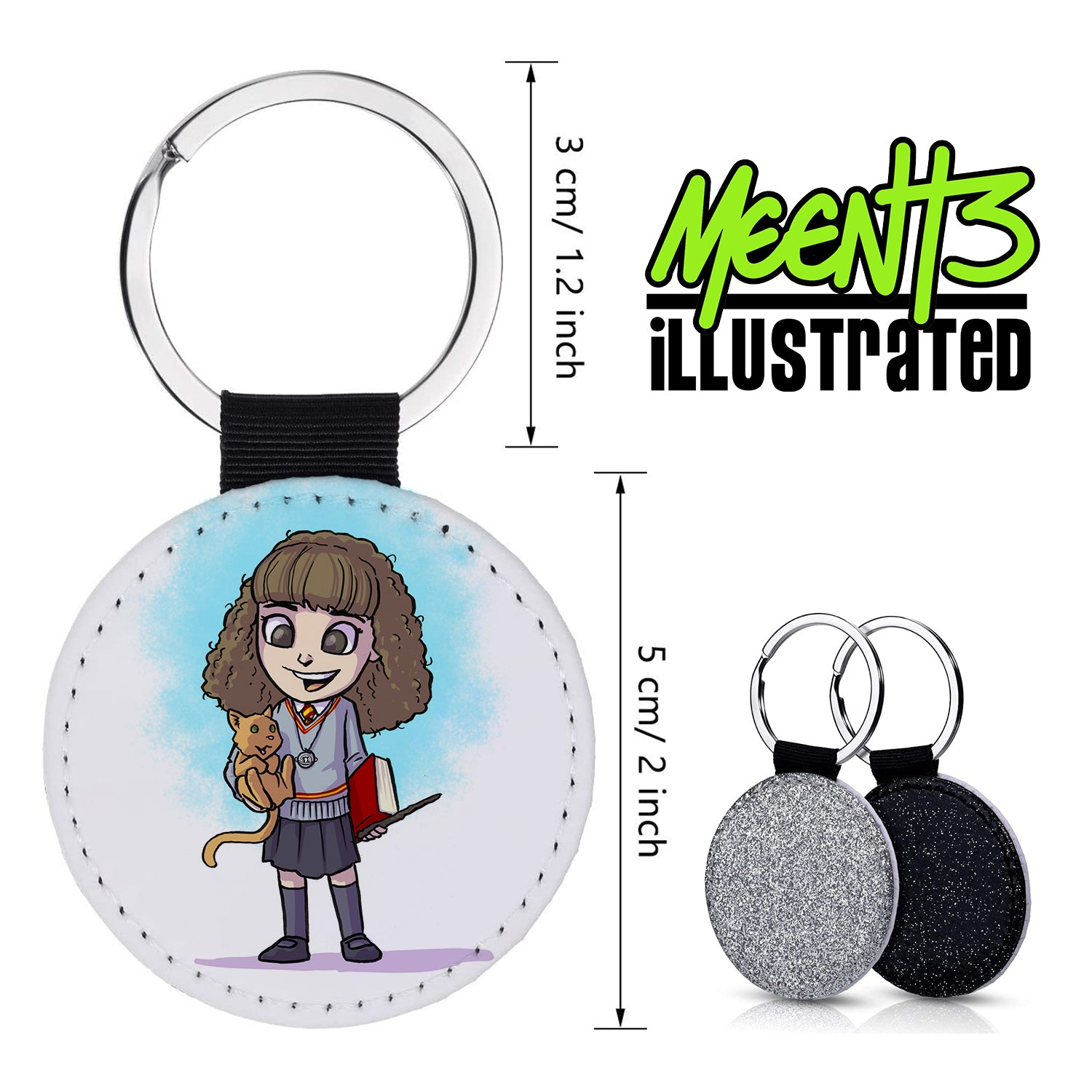 Hermione - Character Art - PU Leather Keychain Round with Keyring