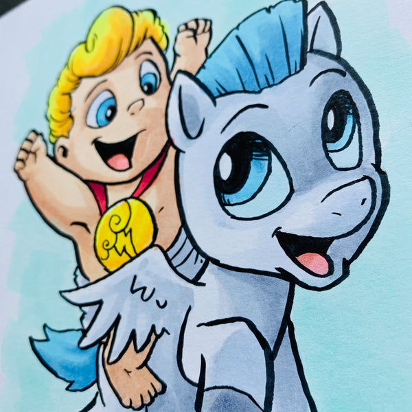 Baby Hercules and Pegasus 5x7 Color Original