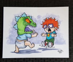 "Rugrats- Tommy, Reptar, and Chuckie 8.5x11"" Bristol Board Original"