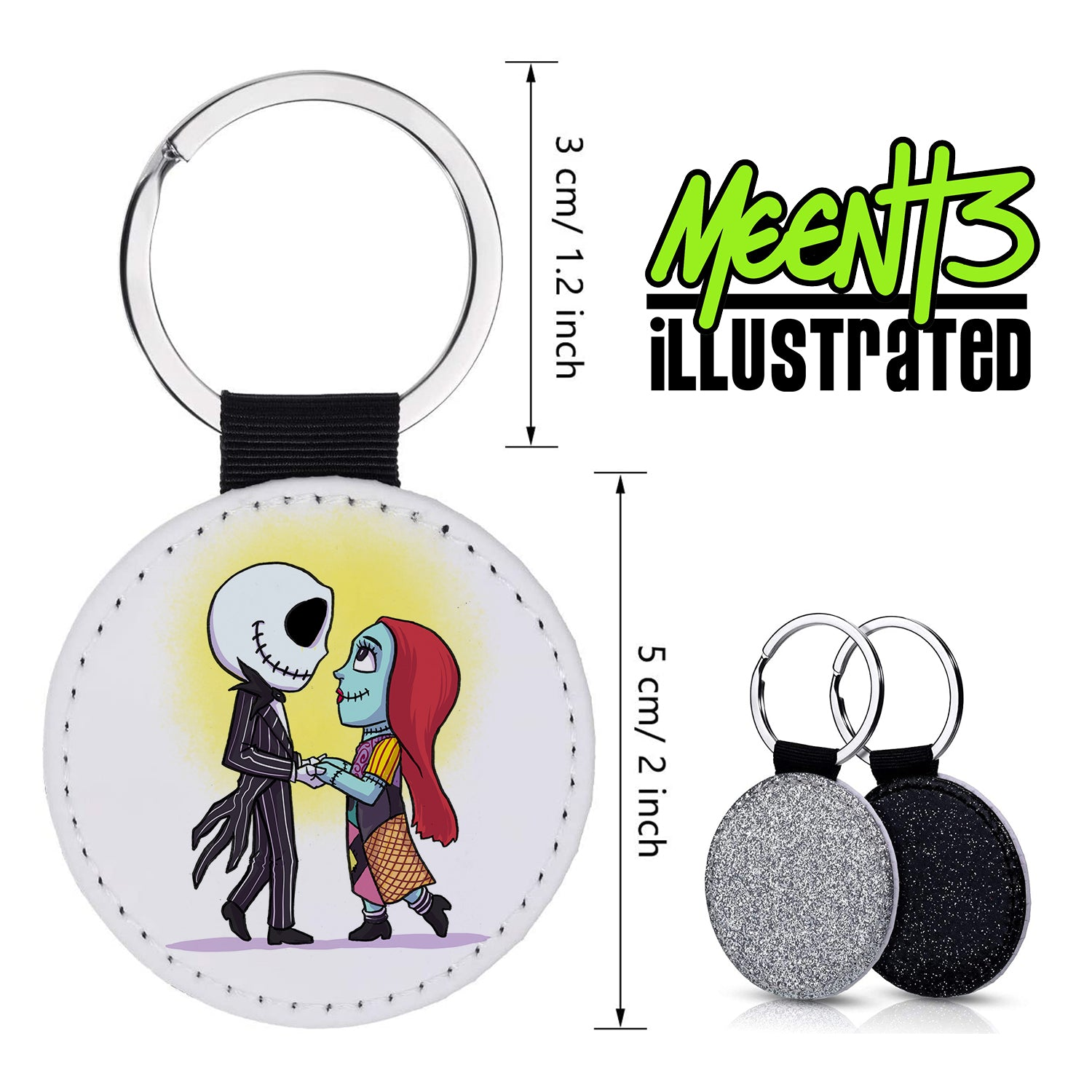 Jack & Sally - Character Art - PU Leather Keychain Round with Keyring