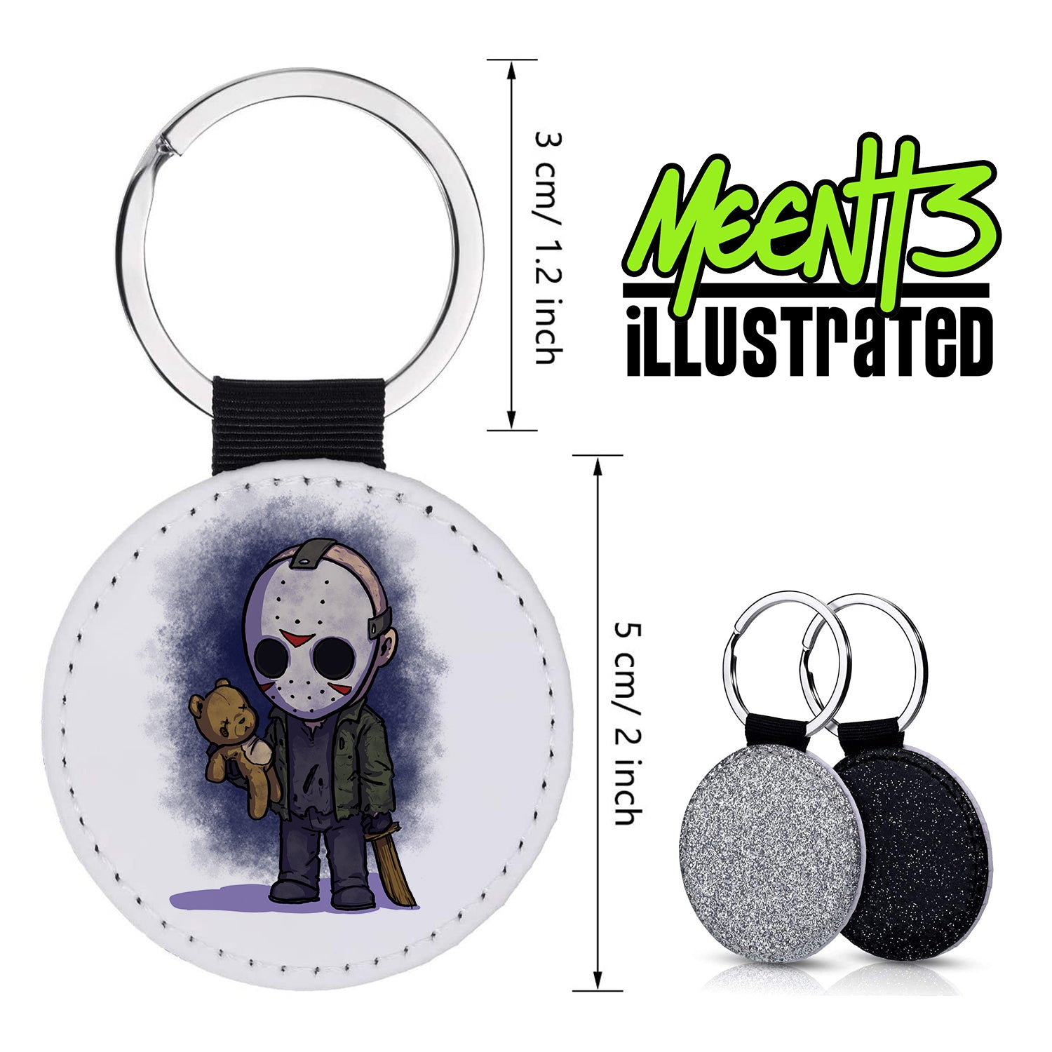 Jason - Character Art - PU Leather Keychain Round with Keyring