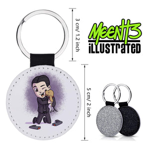 John Wick - Character Art - PU Leather Keychain Round with Keyring