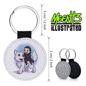 Jon Snow - Character Art - PU Leather Keychain Round with Keyring