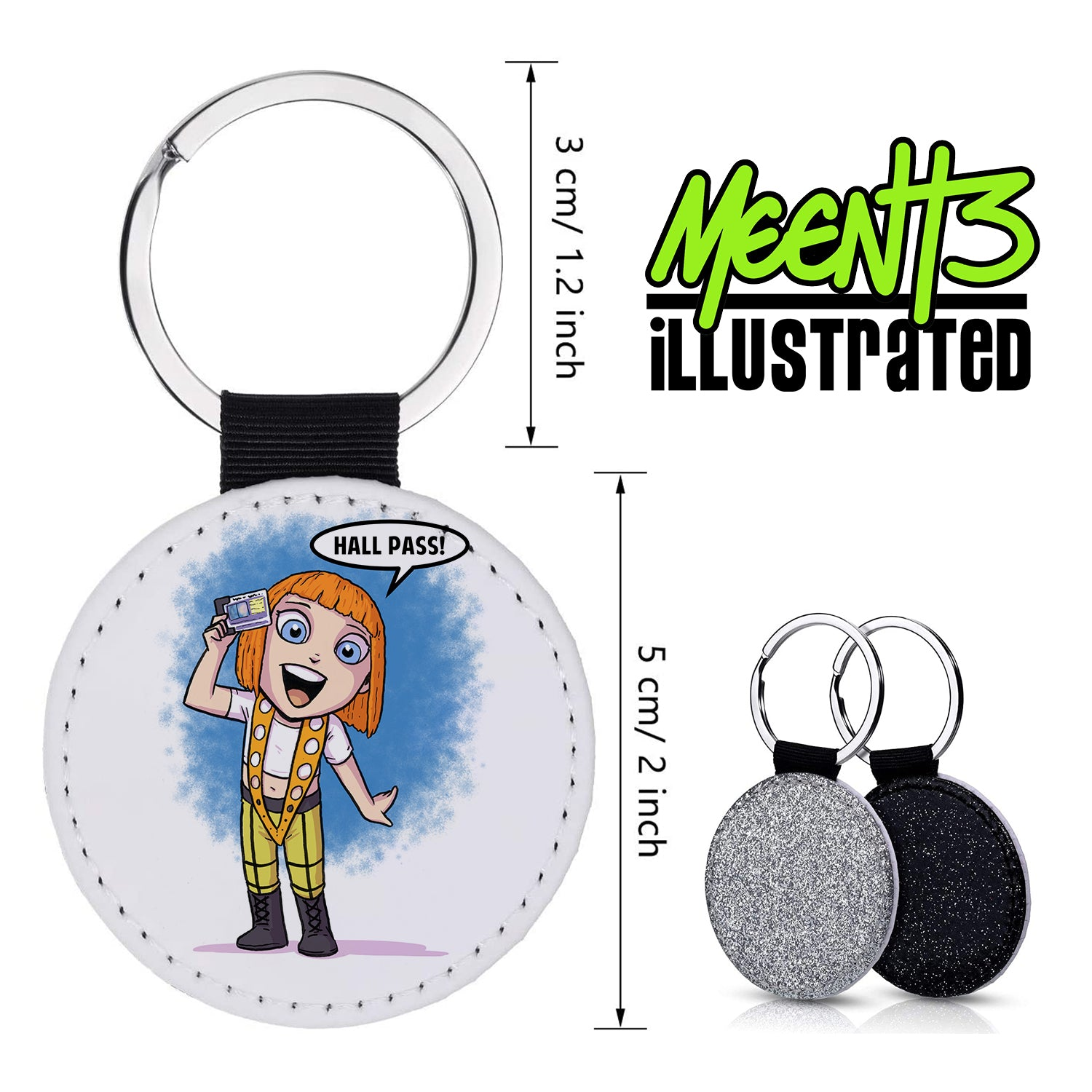 LeeLou - Character Art - PU Leather Keychain Round with Keyring