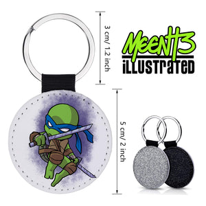 Leo - Character Art - PU Leather Keychain Round with Keyring