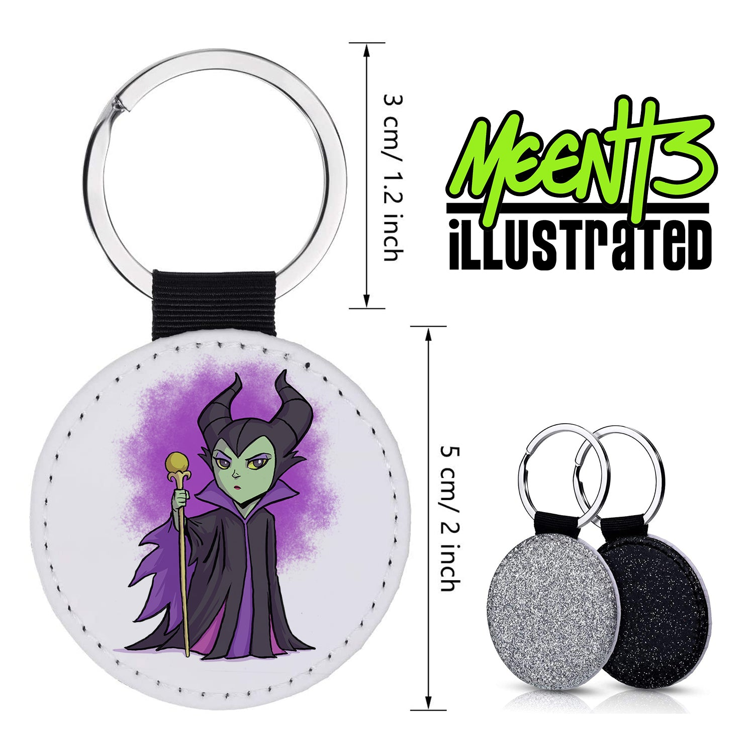 Maleficent - Character Art - PU Leather Keychain Round with Keyring