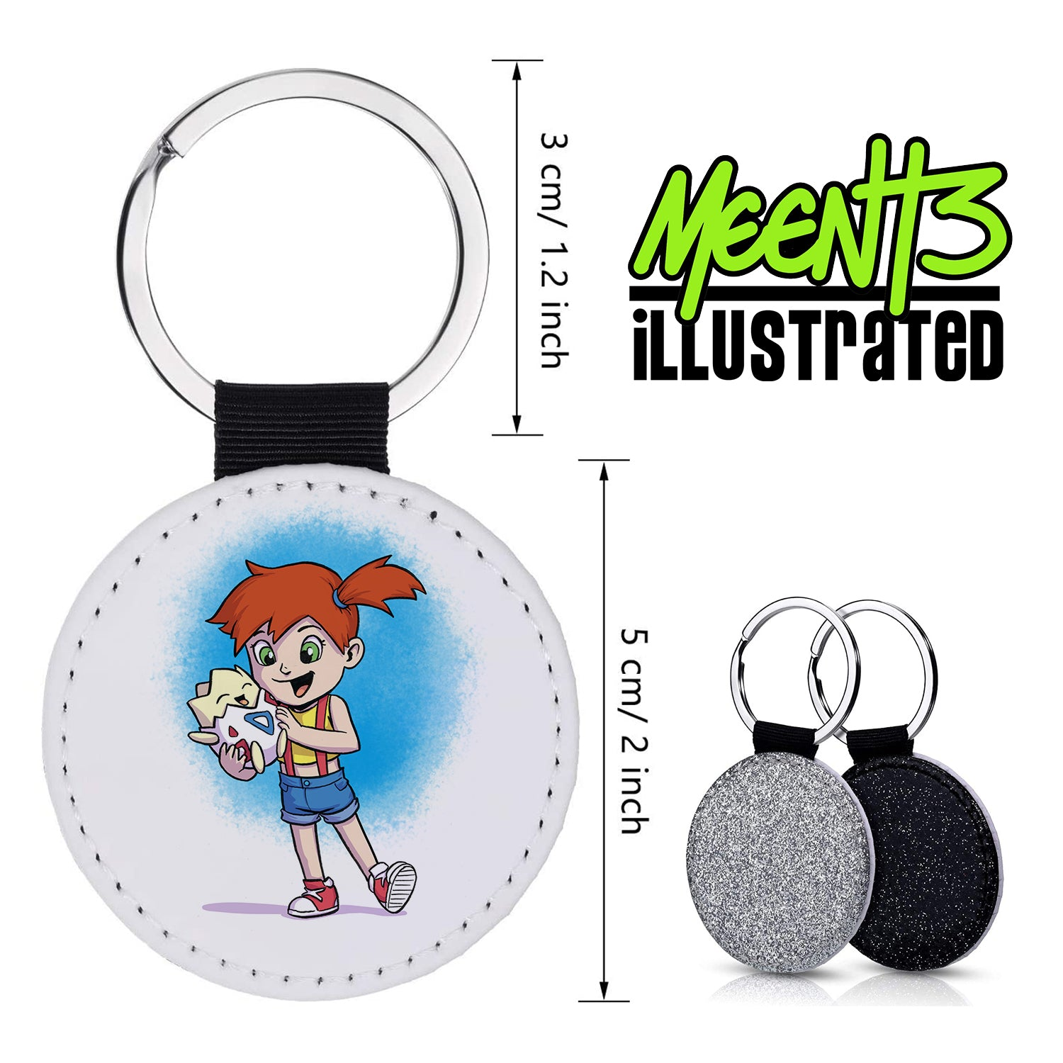 Misty - Character Art - PU Leather Keychain Round with Keyring