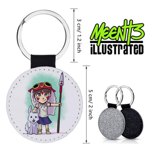 Mononoke - Character Art - PU Leather Keychain Round with Keyring
