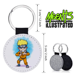 Naruto - Character Art - PU Leather Keychain Round with Keyring