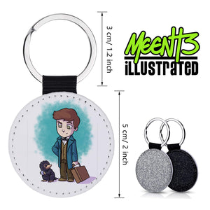Newt - Character Art - PU Leather Keychain Round with Keyring