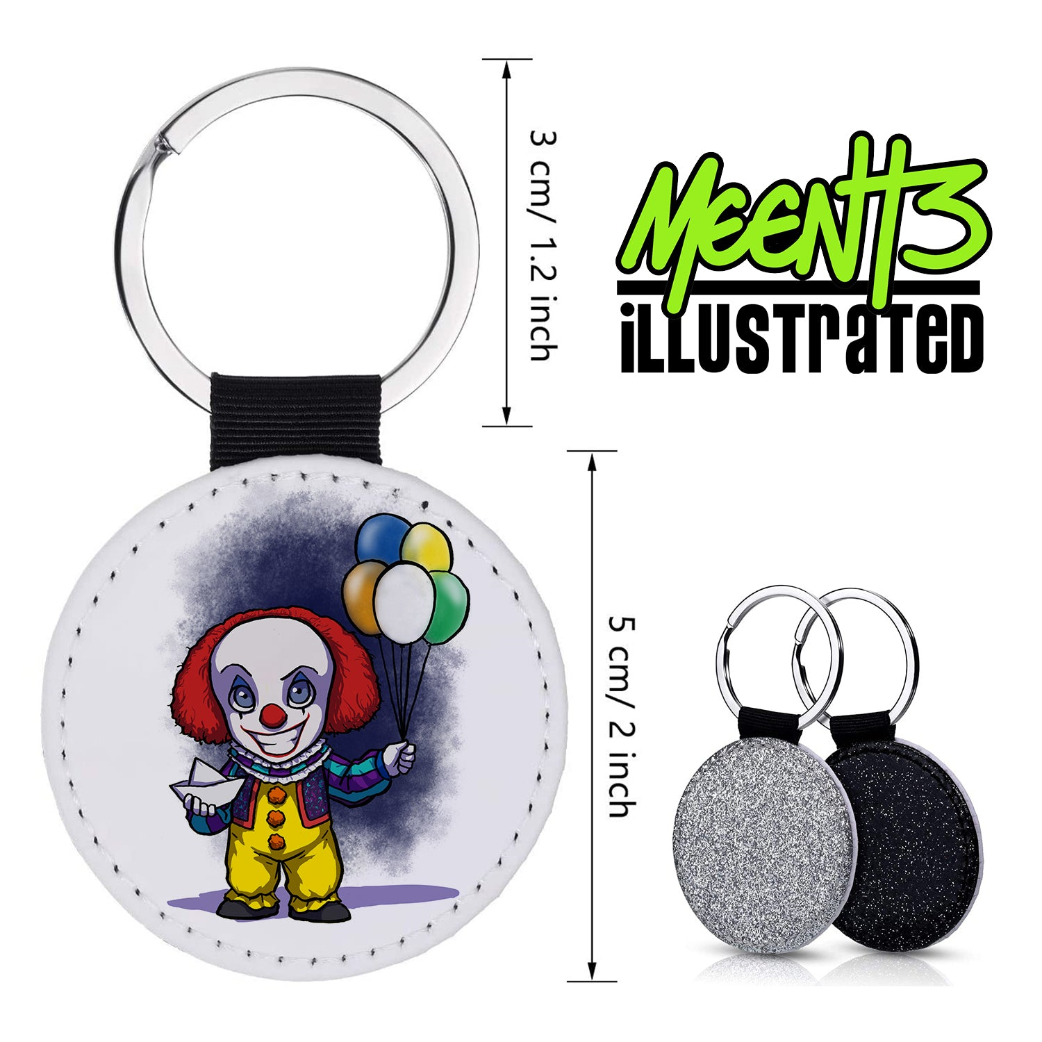 Pennywise - Character Art - PU Leather Keychain Round with Keyring