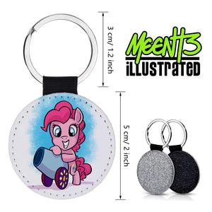 Pinkie Pie - Character Art - PU Leather Keychain Round with Keyring