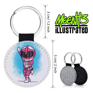 Pink Ranger - Character Art - PU Leather Keychain Round with Keyring