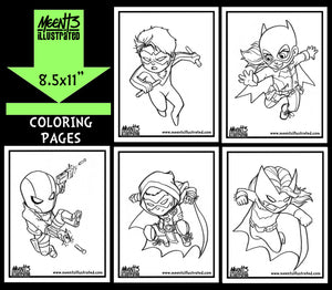 Bat Family Series 1 Coloring Pack