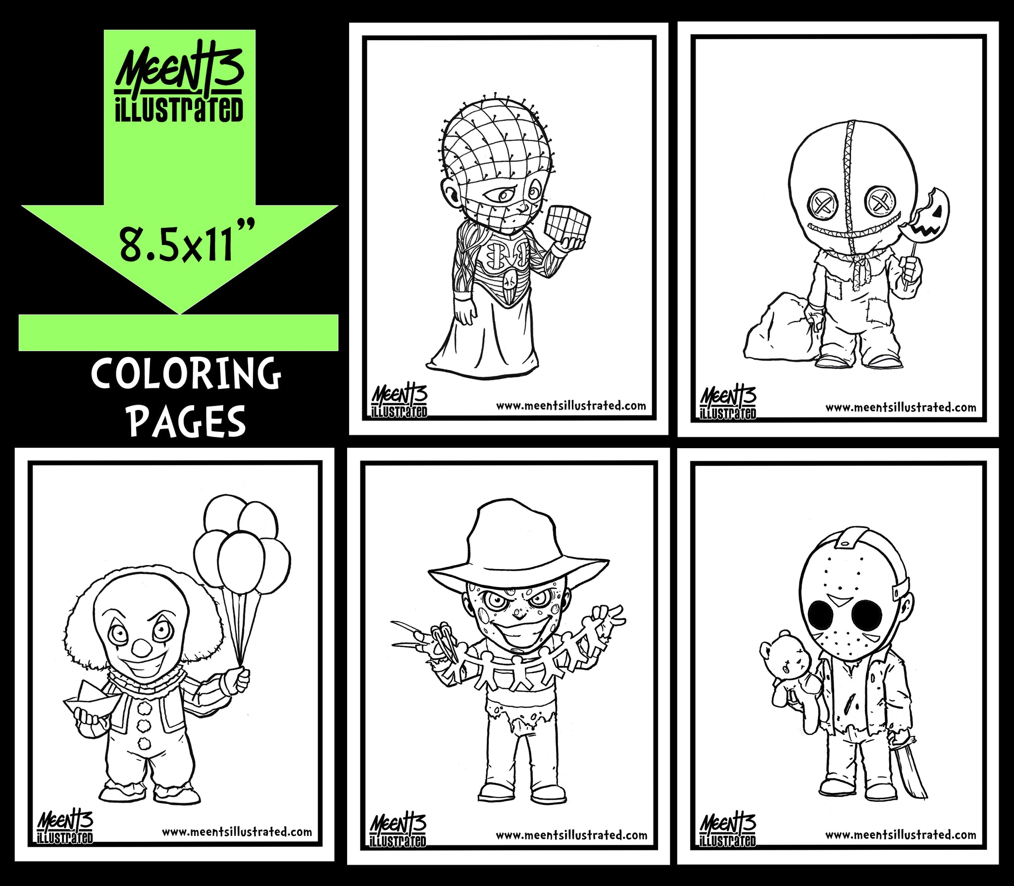 Horror Series 1 Coloring Pack
