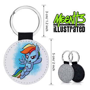 Rainbow Dash - Character Art - PU Leather Keychain Round with Keyring