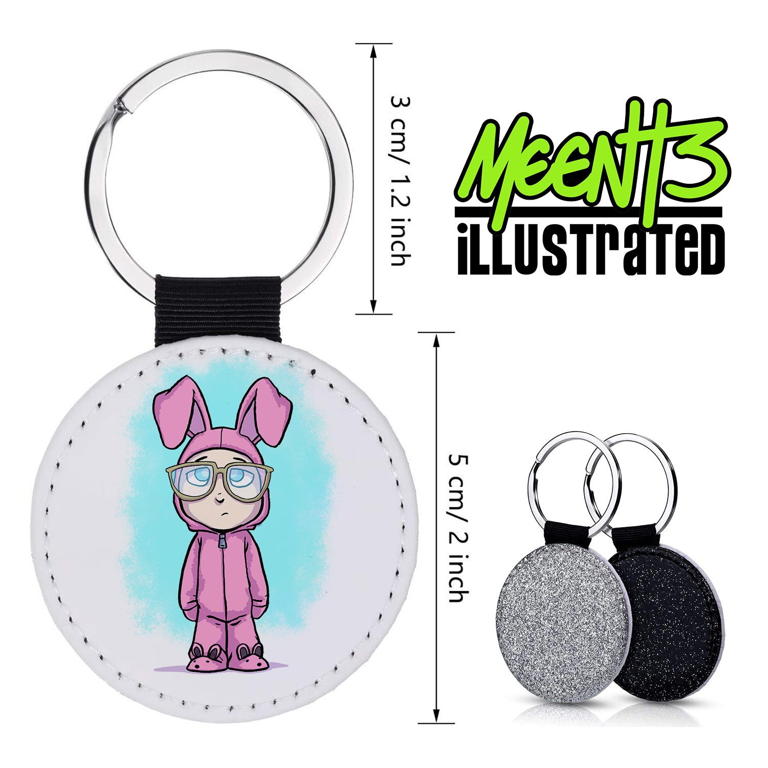 Ralphie - Character Art - PU Leather Keychain Round with Keyring