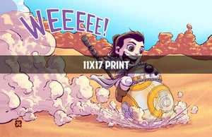 Rey and BB-8 - 11x17 Print