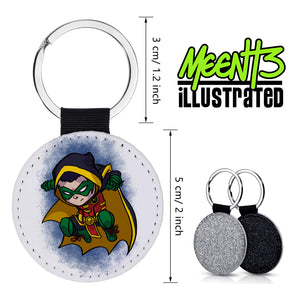 Robin - Character Art - PU Leather Keychain Round with Keyring