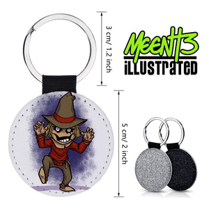 Scarecrow - Character Art - PU Leather Keychain Round with Keyring