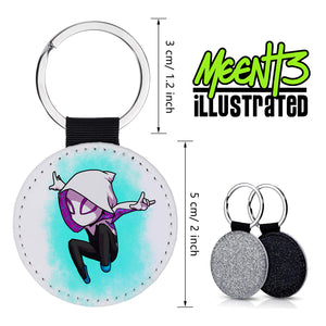 Spider Gwen - Character Art - PU Leather Keychain Round with Keyring