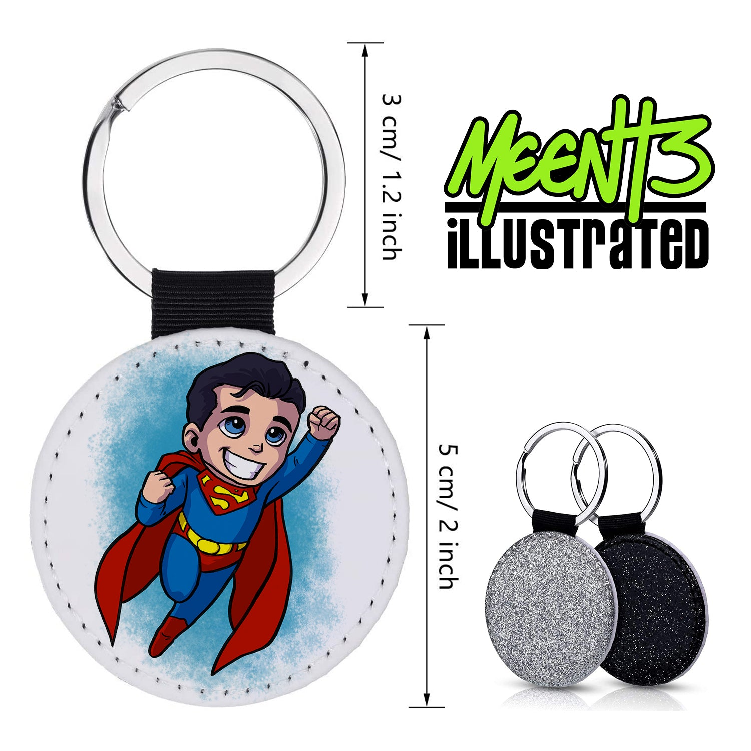 Superman - Character Art - PU Leather Keychain Round with Keyring