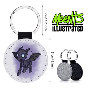 Thestral - Character Art - PU Leather Keychain Round with Keyring