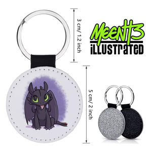 Toothless - Character Art - PU Leather Keychain Round with Keyring