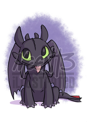 Toothless - 5x7 Mini Print
