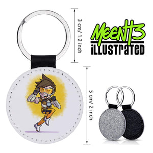 Tracer - Character Art - PU Leather Keychain Round with Keyring