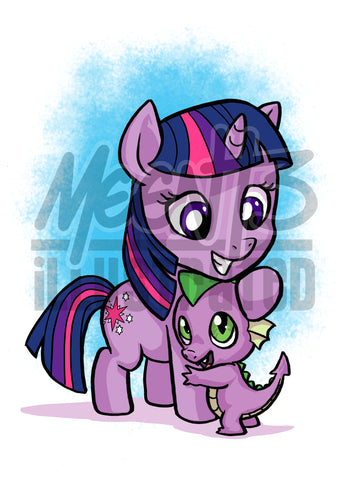 Twilight and Spike- 5x7 Mini Print
