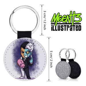 Two Face - Character Art - PU Leather Keychain Round with Keyring
