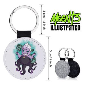 Ursula - Character Art - PU Leather Keychain Round with Keyring