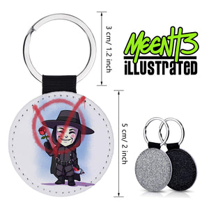 V - Character Art - PU Leather Keychain Round with Keyring