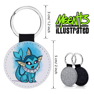 Vaporeon - Character Art - PU Leather Keychain Round with Keyring