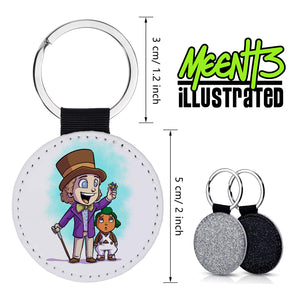 Wonka - Character Art - PU Leather Keychain Round with Keyring