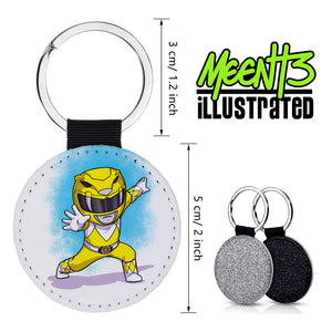 Yellow Ranger - Character Art - PU Leather Keychain Round with Keyring