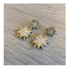 Silver Elegant Double Star Drop Earrings