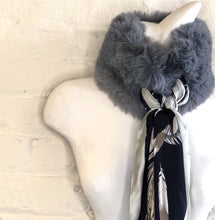 Faux Fur Collar with Equestrian Scarf Tie