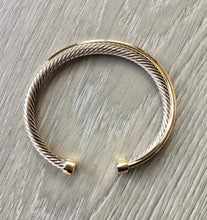 Silver and Gold Crossover Cuff Bracelet