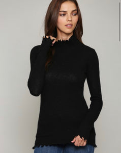 Cashmere Blend Distressed Turtleneck