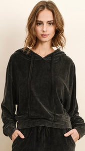 Vivianne Velour Hooded Sweatshirt