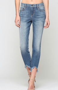 Medium Wash Frayed Hem Skinny Jeans