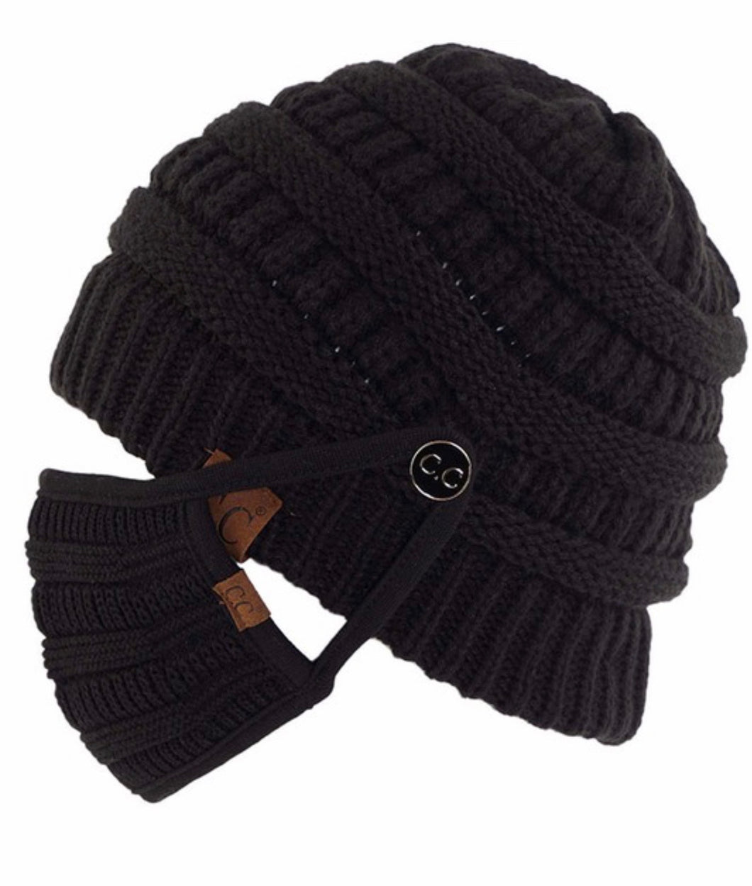 Ribbed Knit Beanie with Detachable Face Mask