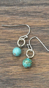 Tiny Turquoise Drop Earrings