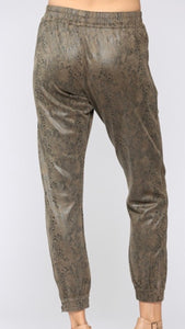 Snake Print Faux Suede Jogger Pants