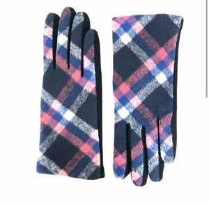 Pink and Blue Plaid Gloves