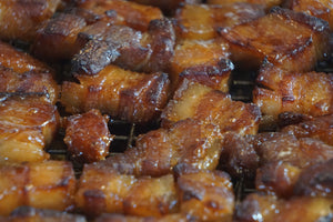 Air Fried Bourbon / Hot Honey Glazed Pork Belly Candy