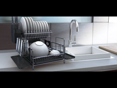 PremiumRacks.com FULLY CUSTOMIZABLE- With 2 different style drainboards, a microfiber mat, 3 separate cup holder attachments & a cutting board ...