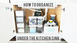 It can be tricky to organize under the kitchen sink! The pipes make the space awkward, and typically we need to store a variety of items there